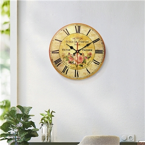 Vintage Flower Wall Clock Round Wooden Mute Wall Clock 12inch