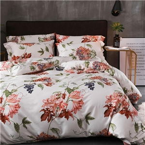 Wonderful Lily Bedding Set Skin-friendly Soft Bedclothes Environmental Protected Pure Cotton 4pcs Duvet