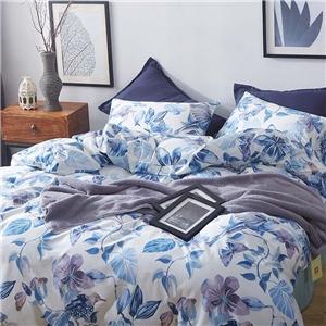 Blue Floral Bedding Set Skin-friendly Soft Bedclothes Environmental Protected Pure Cotton 4pcs Duvet