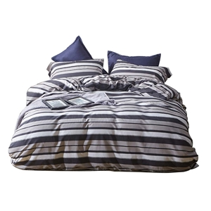 Simple Wide Stripes Bedding Set Skin-friendly Soft Bedclothes Environmental Protected Pure Cotton 4pcs Duvet