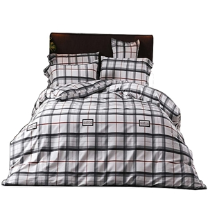 Modern Check Bedding Set Skin-friendly Soft Bedclothes Environmental Protected Pure Cotton 4pcs Duvet