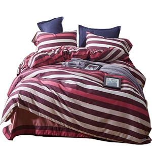 Red and White Stripes Bedding Set Skin-friendly Soft Bedclothes Environmental Protected Pure Cotton 4pcs Duvet Cover Set