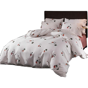 Fresh Strawberry Bedding Set Skin-friendly Soft Bedclothes Environmental Protected Pure Cotton 4pcs Duvet Cover Set