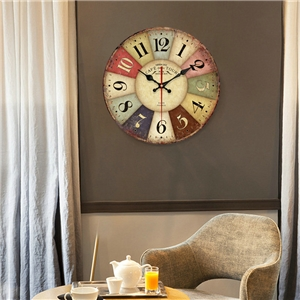 Divisional Numerals Wall Clock European Rural Wooden Mute Wall Clock 12inch Arabic/Roman Numberals