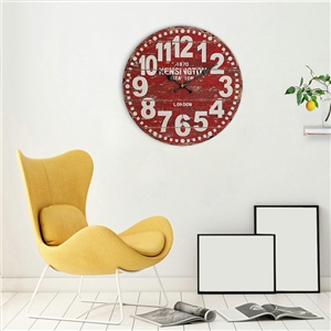 Vintage Wooden Wall Clock European Rural Round Wall Clock 12inch Letter/Building/Flower/Fruit