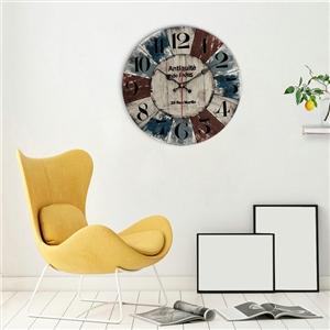 Simple Arabic Numerals Wall Clock European Rural Wooden Mute Wall Clock 12inch