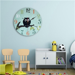 Lovely Owl Wall Clock Modern Simple Wooden Mute Wall Clock 12inch