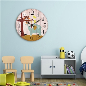 Cute Owl Wall Clock Modern Simple Wooden Mute Wall Clock 12inch