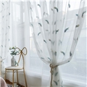 Feather Embroidered Sheer Curtain Minimalist Breathable Curtain Panel for Bedroom