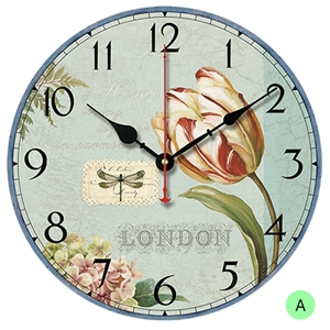 Flower and Gift Wall Clock Round Wooden Mute Wall Clock 12inch