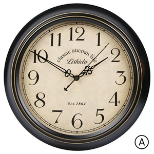 Round ABS Wall Clock Black Metal Frame Mute Wall Clock 12inch