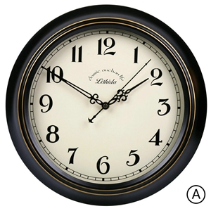 Black Metal Frame Wall Clock Vintage ABS Mute Wall Clock 12inch