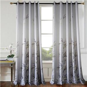 Grey Bamboo Curtain Modern Printing Semi Blackout Curtain Living Room Bedroom Kid's Room Fabric