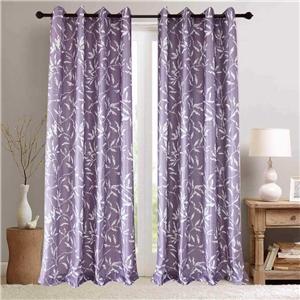 White Leaf Purple Curtain Nordic Simple Semi Blackout Curtain Living Room Bedroom Kid's Room Fabric