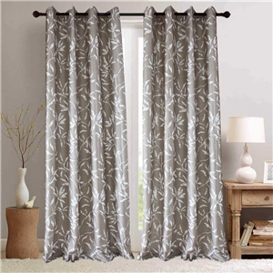 White Leaf Coffe Curtain Nordic Simple Semi Blackout Curtain Living Room Bedroom Kid's Room Fabric