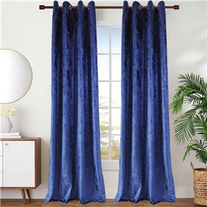 Blue Velvet Curtain Simple Luxurious Semi Blackout Curtain Living Room Bedroom Kid's Room Fabric