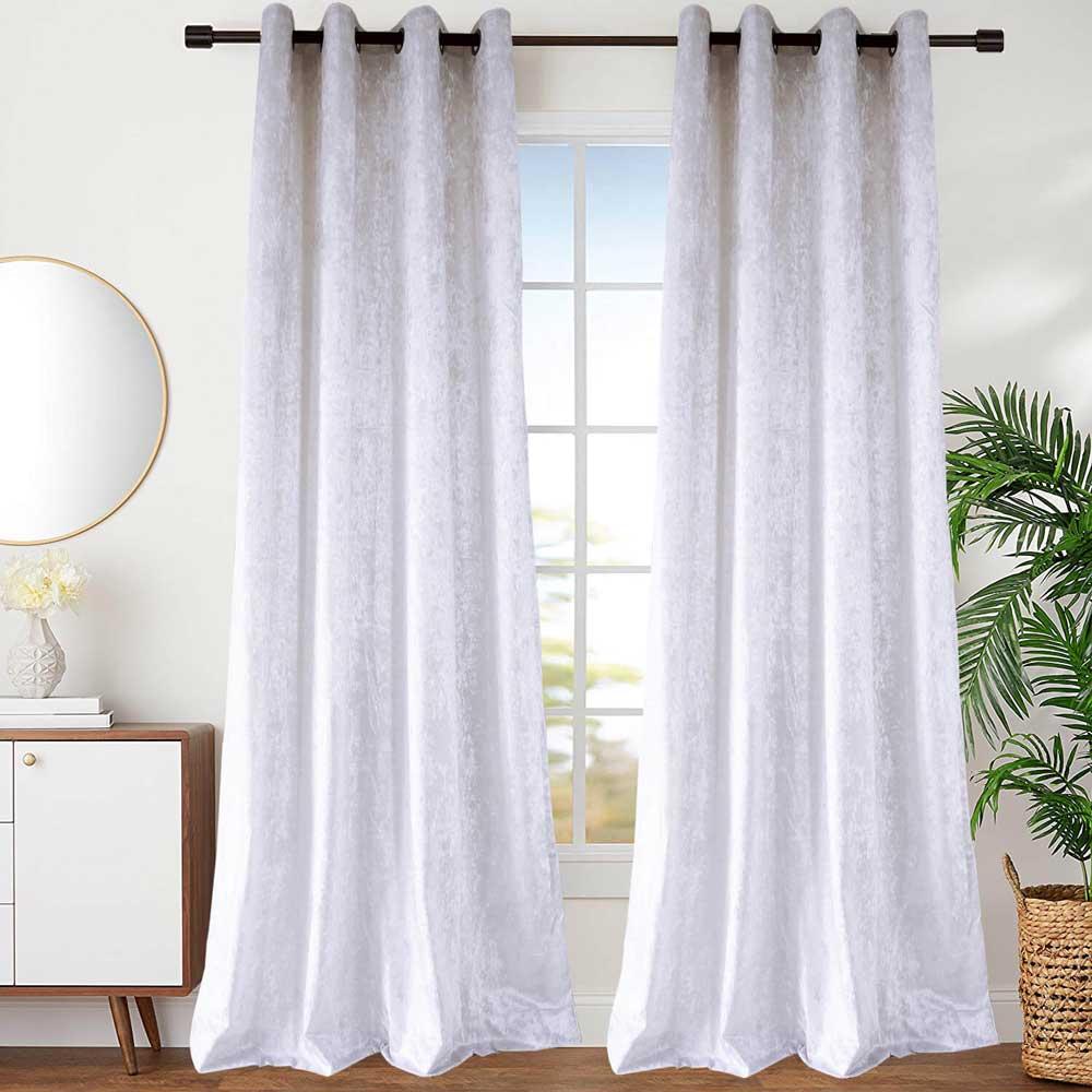 White Velvet Curtain Simple Luxurious Semi Blackout