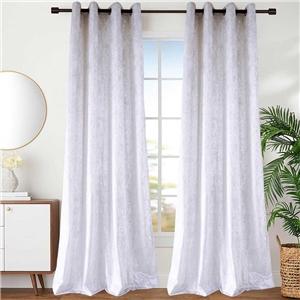 White Velvet Curtain Simple Luxurious Semi Blackout Curtain Living Room Bedroom Kid's Room Fabric