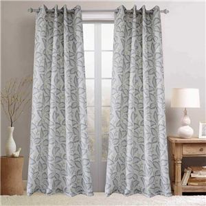 Simple Leaf Printing Curtain Nordic Style Blackout Curtain Bedroom Living Room Kid's Room Fabric