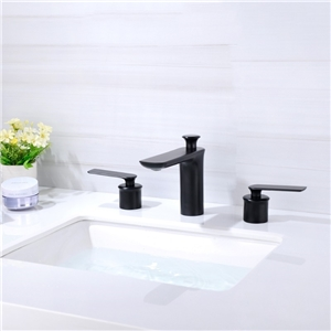 Solid Brass Bathroom Sink Faucet Contemporary Black Deck Mount Bathroom Sink Tap