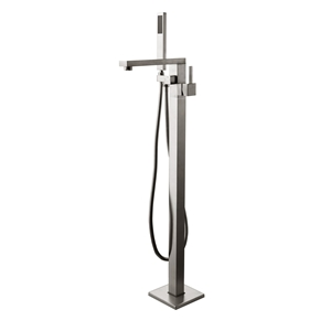 Right-angled Bathtub Faucet Modern Brushed Nickel Floor Mount Tub Tap with Hand Shower
