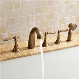 Traditional Tub Faucet Deck Mount Bathtub Tap with Hand Shower