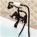 Antique Black Clawfoot Tub Filler Faucet Deck Mounted Bathtub Mixer Tap with Ceramic Hand Shower