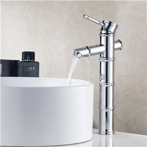 Chrome Bamboo Basin Faucet Deck Mount Tall Sink Tap