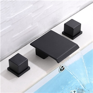 Matte Black Square Basin Faucet Waterfall Widespread Bathroom Sink Tap