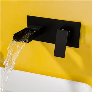 Contemporary Square Basin Faucet Modern Waterfall Bathroom Sink Tap