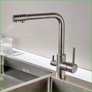 Modern Filtering Kitchen Faucet Brushed Nickel Kitchen Tap