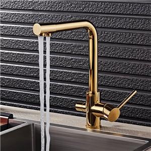 Modern Gold Kitchen Faucet Dual Spouts Filtering Kitchen Tap