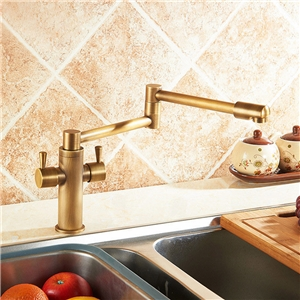 Antique Brass Kitchen Faucet Creative Foldable Kitchen Tap