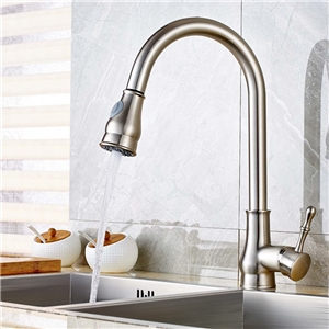 Brushed Nickel Pullout Kitchen Faucet Swivel Spout Kitchen Tap