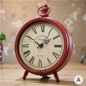 Vintage Style Table Clock Metal Desk Clock Tabletop Clock 20cm(8inch)FG608