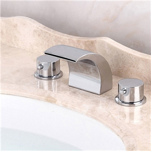 Waterfall Contemporary Widespread Bathroom Sink Faucet (Chrome Finish)
