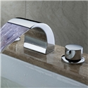 LED Waterfall Widespread Bathroom Sink Faucet Solid Brass Chrome Finish  (LPT19-1)
