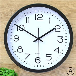 Contemporary Wall Clock Metal Frame Round Non Ticking Wall Clock LTB