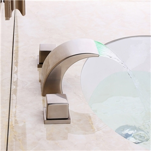 Brushed Nickel LED Tub Faucet Modern Half Curvy Moon Shape Bathtub Tap