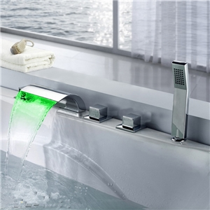 Curved Widespread Tub Faucet Chrome LED Bathtub Tap with Hand Shower