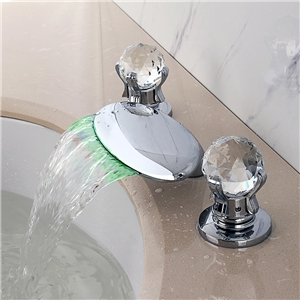 Flat Chrome LED Tub Faucet Widespread Waterfall Bathtub Tap with Clear Handles