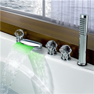 Unique LED Tub Faucet Deck Mount Waterfall Bathtub Tap with Hand Shower & Three Handles