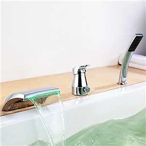Modern LED Tub Faucet Chrome Waterfall Bathtub Tap with Hand Shower