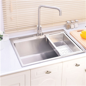 Modern Simple 304 Stainless Steel Sink Rectangle Single Bowl Kitchen Washing Sink with Drain Basket and Knife Holder 6245L