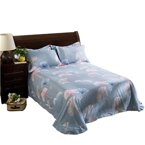 Ginkgo Leaf Bedding Set Soft Blue Bedclothes Pure Cotton 4pcs Duvet Cover Set