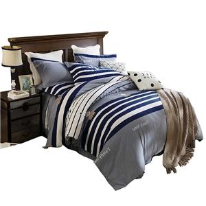 Thin Stripes Bedding Set Soft Skin-friendly Bedclothes Pure Cotton 4pcs Duvet Cover Set