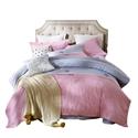 Transverse Stripes Bedding Set Wide Stripes Soft Bedclothes Pure Cotton 4pcs Duvet Cover Set