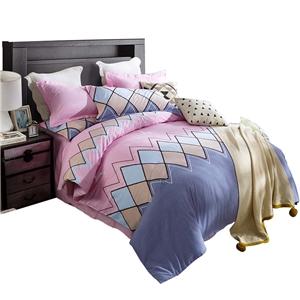Diamond Pattern Pink Bedding Set Soft Skin-friendly Bedclothes Pure Cotton 4pcs Duvet Cover Set