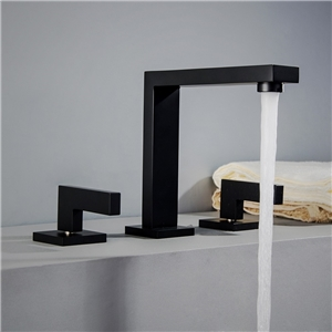 Right-angled Bathroom Sink Faucet Contemporary Double Handles Bathroom Sink Tap