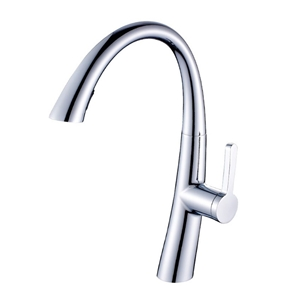 Pull Out Kitchen Faucet Brass Sink Tap with Dual-Function Sprayer Chrome Brushed White Gold Black